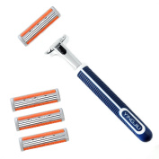 3 Blades Razor System for Man Shaving, 1 Handle + 4 Cartridges