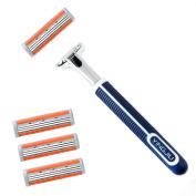 3 Blades Razor System for Man Shaving, 1 Handle + 4 Cartridges
