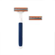 3 Blades Razor System for Man Shaving, 1 Handle + 2 Cartridges