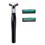 2 Blades Razor System for Man Shaving, 1 Handle + 2 Cartridges