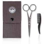 Facial Hair Scissors - Stainless Steel, Top Quality - Ear and Nose Hair Removal - Easy to Use At Home or When Travelling - Includes Case and Grooming Comb