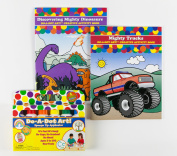 Do A Dot Art! Rainbow 6-Pack Washable Markers With Mighty Trucks and Discovering Mighty Dinosaurs Creative Activity and Colouring Books