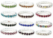 12pcs (12 Colours) Elastic Crystal Toe Ring Mixed Colour Wholesale Lot Body Jewellery Pack