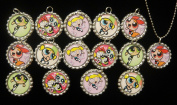 15 POWER PUFF GIRLS Flat Bottle Cap Necklaces for Birthday, Party Favour Set 1