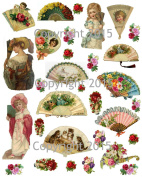 Vintage Victorian Fans and Flowers Collage Sheet Art Images for Decoupage, Scrapbooking, Jewellery Making
