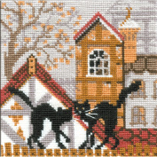 Riolis City and Cats Autumn Counted Cross Stitch Kit, 13cm by 13cm