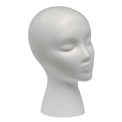 CHRWANG Woman Styrofoam Foam Mannequin Wig Head White for Shop Wig Cap Display Stand