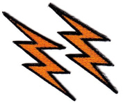 LIGHTNING BOLTS, GOLDEN YELLOW w/BLACK (2 PIECES) - IRON ON EMBROIDERED PATCH