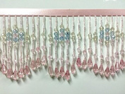 9.5cm Crystal Beaded Fringe Trim CBF-22/18/53 Pink Multi