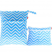 Damero 2pcs Pack Travel Baby Wet and Dry Cloth Nappy Organiser Bag, Blue Chevron