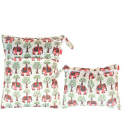 Damero 2pcs Pack Travel Baby Wet and Dry Cloth Nappy Organiser Bag, Elephants