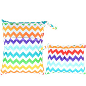 Damero 2pcs Pack Travel Baby Wet and Dry Cloth Nappy Organiser Bag, Colourful Chevron