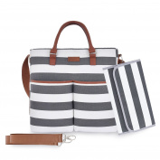 Nappy Bag by Daulia - With Matching Baby Changing Pad - Grey and White Stripe Stylish Cotton Canvas