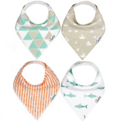 "Baby Bandana Drool Bibs for Drooling and Teething 4 Pack Gift Set For Boys ""Pacific Set"" by Copper Pearl"