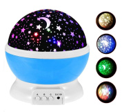 Baby Night Light Moon Star Projector 360 Degree Rotation 4 LED Bulbs 9 Light Colour Changing With USB Cable Toullfly Night Lighting Lamp Projection Romantic Rotating Cosmos Rotation for Kids
