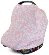 Stretchy 3-in-1 Car Seat Canopy | Nursing Cover | Shopping Cart Cover- Pink Floral | Best Baby Shower Gift for Boys or for Girls | Universal Fit for Infant Car Seat | Great for Breastfeeding Moms
