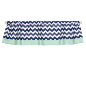 Navy Blue and Mint Chevron Window Valance by The Peanut Shell - 100% Cotton