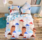 Town Life Geometric Reversible Single Duvet Covers Cosy Comfortable Quilt Covers Bedding Sets with One Pillowcase