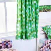 Pixels Design Ready Made Tape Top Curtain Pair with Tie Backs 170cm x 140cm - Green