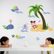 Rainbow Fox Forest Animals and ocean shark Playing On Colourful beach Removable Wall Stickers Home Decor stickers For Children's Room Nursery