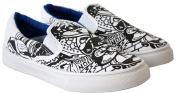 Boys Girls Unisex Kids Slip On Patterned Canvas Flat Summer Skate Pumps Trainers Shoes - UK Sizes 13-5