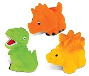 Puzzled Yellow Stegosaurus, T-Rex And Orange Triceratops Rubber Squirter Bath Buddy Bath Toy - Dinosaurs \ Prehistoric Theme - 7.6cm - Item #K2777-2778-2779