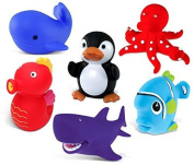 Puzzled Sea Horse, Blue Whale, Penguin, Red Octopus, Purple Shark And Blue Fish Rubber Squirter Bath Buddy Bath Toy - Ocean \ Sea Life Theme - 7.6cm - Item #K2734-2748-2762-2780-2781-2783