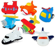 Puzzled Helicopter,Aeroplane,Sea Knight Helicopter,Sea Plane,Bi Plane,Jetliner And Space Shuttle Rubber Squirter Bath Buddy Bath Toy - Aircraft\Helicopters\Space Theme -7.6cm