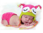 2pcs owl clothes set New Handmade knitted new born infant clothes baby newborn photography props accessories