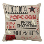 Xumarket(Tm) Movie Theatre English Letters Printing Cotton Linen Square Shaped Decorative Pillow Cover Pillowcase Pillowslip