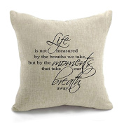 Xumarket(Tm) Pillowcase Life Is Not Measured By The Breaths We Take Quote Words Cotton Linen Decorative Pillow Cover Pillowslip 45*45Cm