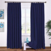 Pencil Pleat Blackout Curtains Panels - PONYDANCE Window Treatment Thermal Insulated Top Tape Blackout Door Curtains Blinds Drapes for Bedroom, 2 Panels, W 230cm by D 230cm , Navy Blue