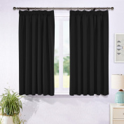 Blackout Pencil Pleat Windows Curtains - PONYDANCE Plain Thermal Insulated Readymade Blackout Window Treatment Blind Curtains for Nursery, 2 panels, Width 170cm x Depth 140cm , Black