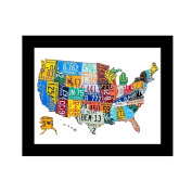UNIQUEBELLA 25cm x 20cm paint splat USA Map photo framed wall art print picture painting wooden & PVC Pictures framed black white