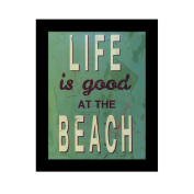 UNIQUEBELLA 25cm x 20cm paint splat Life is good Beach photo framed wall art print picture painting wooden & PVC Pictures framed black white