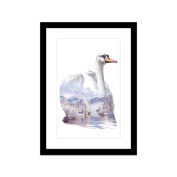 UNIQUEBELLA A3 paint splat Swan photo framed wall art print picture painting wooden & PVC Pictures framed black white photo frame