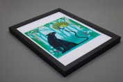 The Peacock and The Panther - Framed Art Poster Print by Oliver Lake