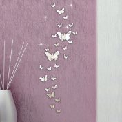 Xinantime 30PC DIY Butterfly Combination 3D Mirror Wall Stickers