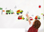 Cartoon cars removable wall stickers children nursery living room bedroom TV background wall murals