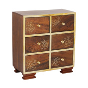 Small Wooden Chest of 6 Drawers Armoire Jewellery Trinket Accessories Organiser Box Multipurpose Cabinet - Kids Room Furniture Home Decor