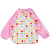 Cute Round Collar Baby Bibs Long Sleeve Reversible Lace Up Waterproof Children Cartoon Overclothes