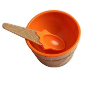Vovotrade Cute 1 x ice cream Kids bowl with a spoon plastic ice cream cup Couples bowl gifts Dessert