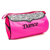 Sassi Designs Girls Pink Zebra Polka Dot Grosgrain Trim Dance Medium Duffel Bag