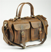 Vintage Crazy Horse Leather Travel Duffel Bag Luggage Bag Tote Bag