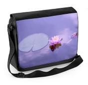 Lotus Water Lily Purple Background Laptop Messenger Bag