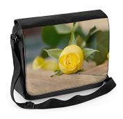 Yellow Rose On Table Laptop Messenger Bag
