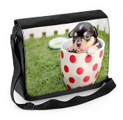 Chihuahua Puppy in a Tea Cup Laptop Messenger Bag