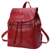 AINISI Womens New Fashion Red Wine Genuine Leather Backpacks Schoolbag Shoulder Bag
