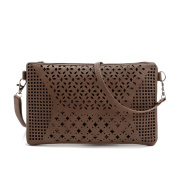 Asiki Ladies Stylish Envelope Evening Clutch Bag PU Leather Shoulder Bag with Laser Cut Out Detail