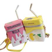 Sunveno Cute Laser Shoulder Chain Bag Straw Milk Box Cross-body Bag Mobile Phone Wallet XB-NVB-003